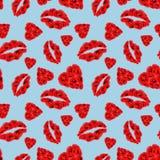 Poppy Hearts och för kanter sömlös modell på ljust - blå bakgrund stock illustrationer