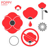 Poppy. Icon set Royalty Free Stock Image