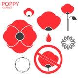 Poppy. Icon set Royalty Free Stock Image