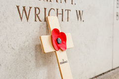 A Poppy at the menin gate in Ypres Flander Belgium Stock Photos
