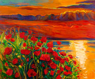 Poppy and ocean. Original oil painting of Opium poppy( Papaver somniferum) field in front of beautiful sunset over the ocean on canvas.Modern Impressionism Stock Photos