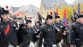 Poppy Parade die 100 jaar van Wereldoorlog I herdenken Stock Afbeelding