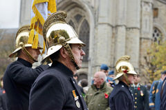 Poppy Parade, die 100 Jahre Ersten Weltkrieg in Ypres gedenkt Stockfotografie