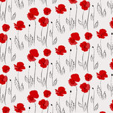 Poppy pattern. Pattern of poppies including seamless sample in swatsh panel Stock Image