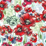 Poppy pattern red and green royalty free illustration