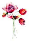 Poppy, Peony and Tulip flowers Stock Photography