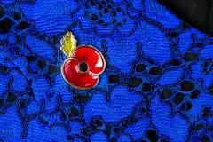 Poppy Pin rossa come simbolo della giornata della memoria Fotografia Stock