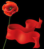 Poppy and red ribbon Stock Photos