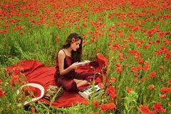 Poppy, Remembrance or Anzac Day. Journalism and writing, summer. Drug, narcotics, opium, woman with typewriter, camera, book. Opium poppy, agile business royalty free stock photography