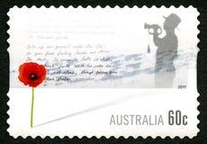 Poppy Remembrance Australian Postage Stamp roja Foto de archivo