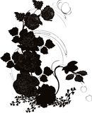 Poppy and rose silhouette. Illustration with black and white poppy and rose decoration Vector Illustration