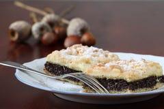 Poppy sead and hazelnut crumble cake Royalty Free Stock Image