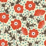 Poppy seamless background pattern Stock Photo