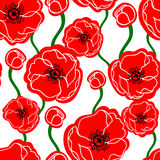 Poppy seamless pattern. Seamless pattern background with poppy flowers Stock Image