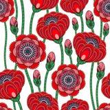 Poppy seamless pattern. Beautiful . Poppy abstract seamless pattern. Beautiful illustration Stock Illustration