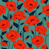 Poppy seamless pattern Royalty Free Stock Photo