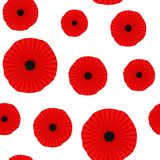 Poppy seamless pattern. Red poppies on white background. Can be used for textile, wallpapers, prints and web design stock illustration