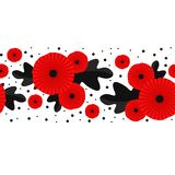Poppy seamless pattern. Red poppies on white background. Can be used for textile, wallpapers, prints and web design vector illustration