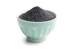 Poppy seed in bowl Royalty Free Stock Image