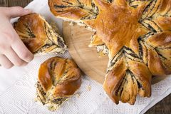 Poppy seed bread in the shape of a flower royalty free stock photography