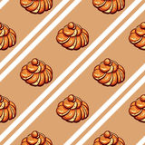 Poppy Seed Buns Seamless Pattern Photo stock