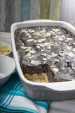 Poppy seed cake in baking dish Stock Image