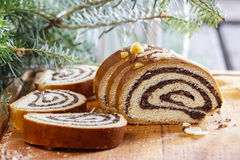 Poppy seed cake in christmas setting Royalty Free Stock Photos