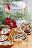 Poppy seed cake in christmas setting Stock Photo