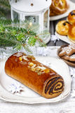 Poppy seed cake in christmas setting Royalty Free Stock Image