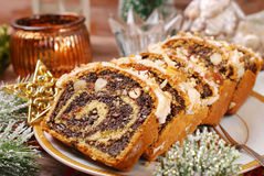 Poppy seed cake for christmas Stock Photos