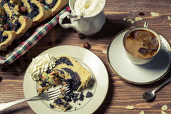 Poppy seed cake and cup of coffee Royalty Free Stock Photo