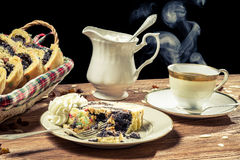 Poppy-seed cake served with hot coffee Royalty Free Stock Images