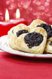 Poppy seed cookies in heart shape Stock Image
