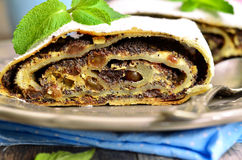 Poppy seed and cottage cheese strudel. Stock Photos