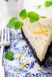 Poppy seed cream tart, cake, pie slice with lemon zest Stock Photography