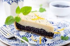 Poppy seed cream tart, cake, pie slice with lemon zest Royalty Free Stock Photos