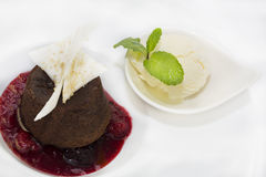 Poppy seed dessert with ice cream Royalty Free Stock Photography