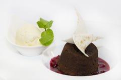 Poppy seed dessert with ice cream Stock Photos