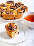 Poppy seed filling swirl buns Royalty Free Stock Images