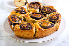 Poppy seed filling swirl buns Royalty Free Stock Photography