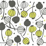 Poppy seed fruit pattern on white Stock Images