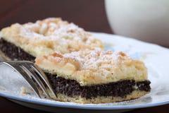 Poppy seed and hazelnut crumble cake Stock Photo