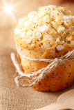 Poppy seed muffin in rustic style with sun beam Royalty Free Stock Photos