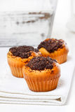 Poppy-seed muffins on white napkin Royalty Free Stock Photos