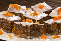Poppy seed, orange cake, nicely served. Royalty Free Stock Image