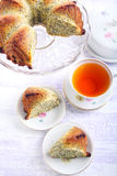 Poppy seed orange ring cake, sliced Stock Photos