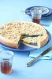 Poppy Seed Pie with Peaches and Streusel Topping Stock Photos