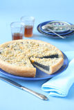 Poppy Seed Pie with Peaches and Streusel Topping Stock Image
