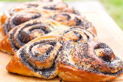 Poppy seed roll freshly baked on the table Royalty Free Stock Photography