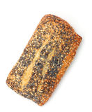 Poppy seed roll with sesame. Isolated on white background stock photos